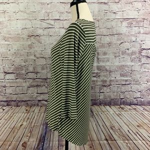 Chico's Tops - Chico's Olive Green Striped 3/4 Sleeve Top